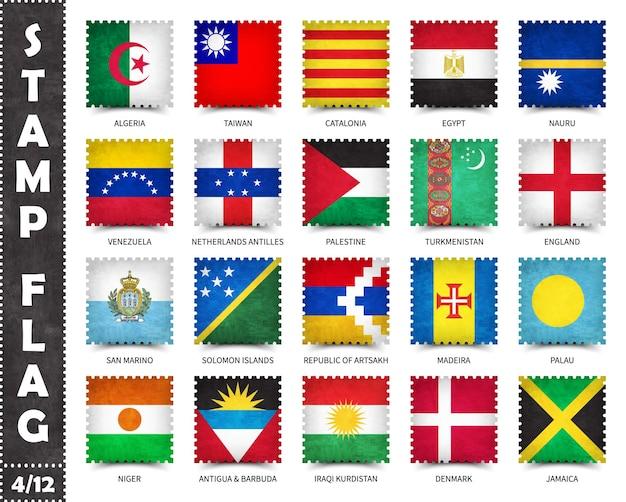Postzegels set officiële vlaggen van landen in de wereld