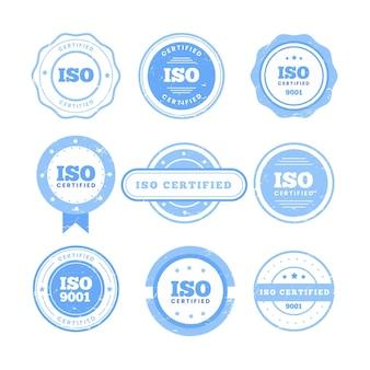 Postzegelverzameling met iso-certificering Gratis Vector