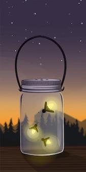 Pot met fireflies