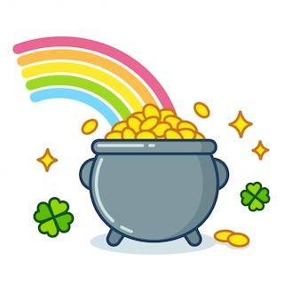 Pot met goud met regenboog