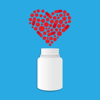 Pot met hartvormige pillen. vectorillustratie eps 10