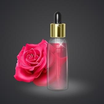 Pot met rozenolie op de achtergrond van een rode roos