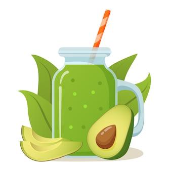 Pot met smoothie avocado shake cocktail.natuurlijk groentesap.