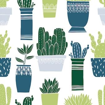 Pot van de patroon de naadloze cactus en succulent in schetsstijl