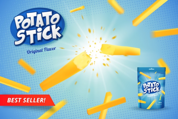 Potato stick realistische advertentie