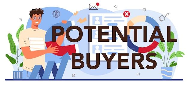 Potentiële kopers typografische kop. vastgoedsector. idee van een brede selectie van huizen te koop en te huur. hulp van makelaars en hulp bij hypotheken. platte vectorillustratie