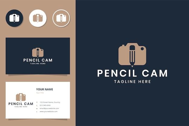 Potlood camera negatieve ruimte logo ontwerp
