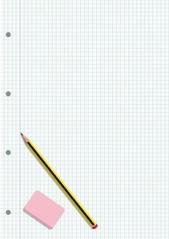 Potlood en gum op een geregeld blad van een notebook