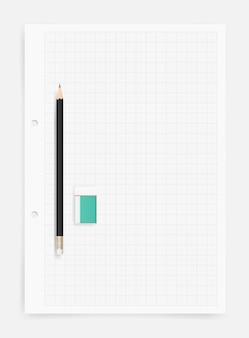 Potlood en gum op tekenpapier bladachtergrond.