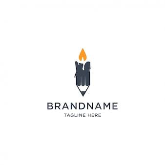 Potlood en kaars logo ontwerpsjabloon illustratie