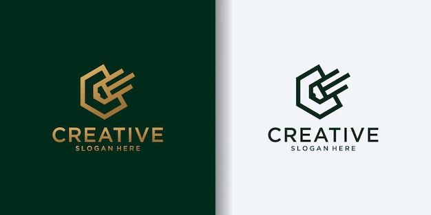 Potlood gecombineerd met zeshoekige lijnstijl logo ontwerpsjabloon vormige letter c