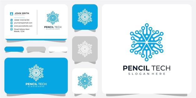 Potlood gegevens gemeenschap logo ontwerpconcept met visitekaartje. logo ontwerp voor potloodgegevenstechnologie