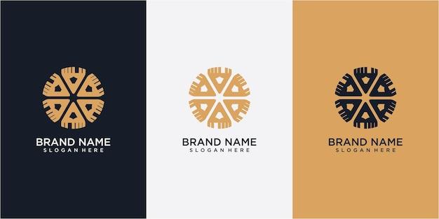 Potlood gemeenschap logo ontwerpconcept. potlood logo ontwerpsjabloon