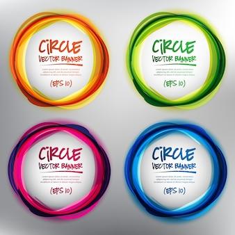 Potlood handgetekende cirkels. viltstift cirkel tekening banners. geïsoleerd n het witte oppervlak.