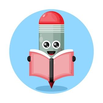 Potlood leesboek schattig karakter logo