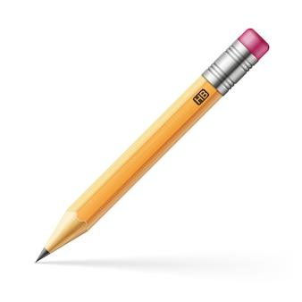 Potlood met roze gum realistische vectorillustraion die op witte achtergrond wordt geïsoleerd