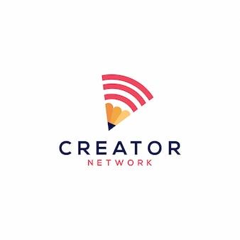 Potlood netwerk logo vectorillustratie pictogram