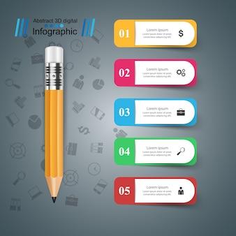 Potlood, onderwijs pictogram. zakelijke infographic.