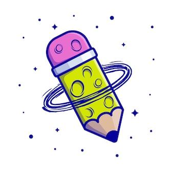 Potlood planeet cartoon pictogram vectorillustratie. onderwijs wetenschap thema geïsoleerde premium vector.