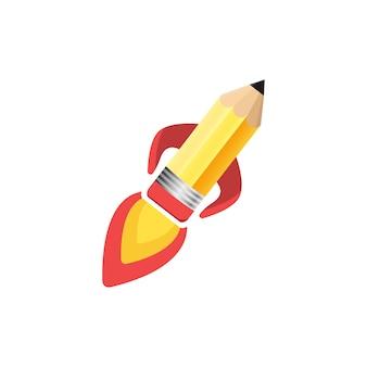 Potlood raket illustrator ontwerp