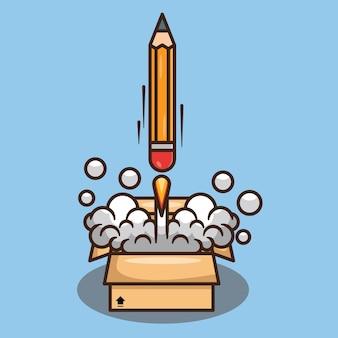 Potlood raket lancering van een doos cartoon vector design illustratie