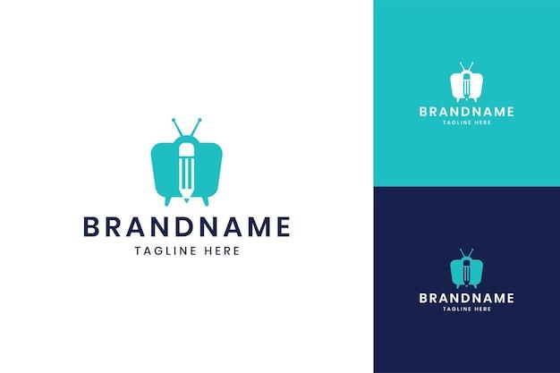 Potlood televisie negatieve ruimte logo ontwerp