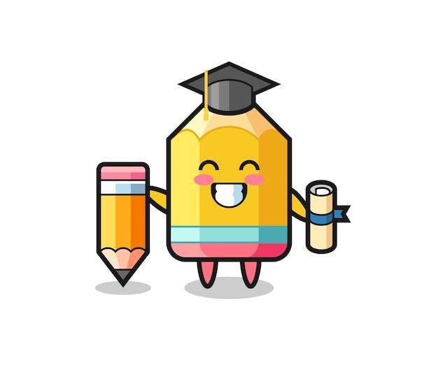 Potloodillustratie cartoon is afstuderen met een gigantisch potlood, schattig stijlontwerp voor t-shirt, sticker, logo-element