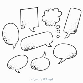 Potloodtekeningen met schaduwen voor praatjebellen