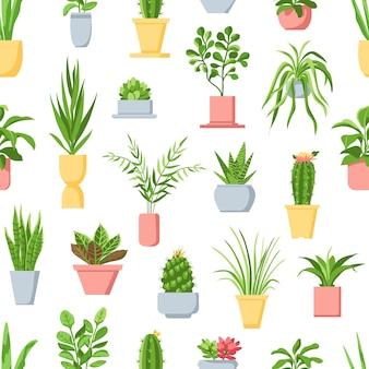 Potplanten naadloze patroon. kamerplanten, cactussen en vetplanten, tuin in potten interieur. scandinavische stijl bloemen vector print. illustratie kamerplant cactus en vetplant