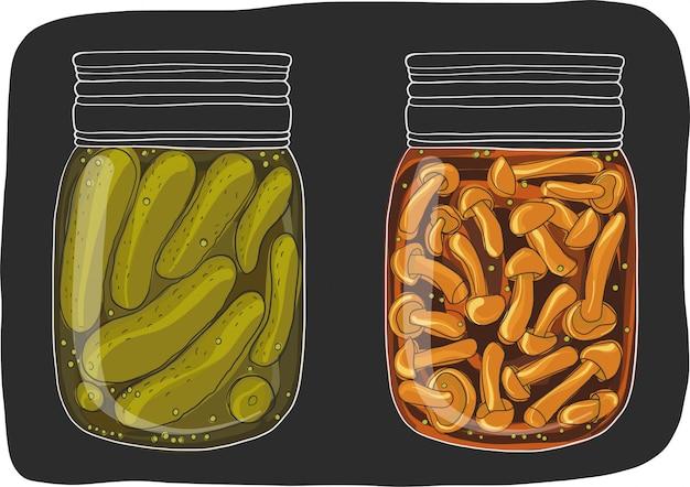 Potten met zelfgemaakte, ingemaakte groenten.