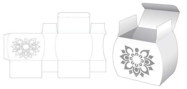 Potvormige doos met gestencilde mandala patroon gestanst sjabloon
