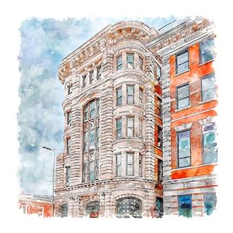 Poughkeepsie new york aquarel hand getekende illustratie