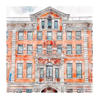 Poughkeepsie new york aquarel schets hand getekende illustratie