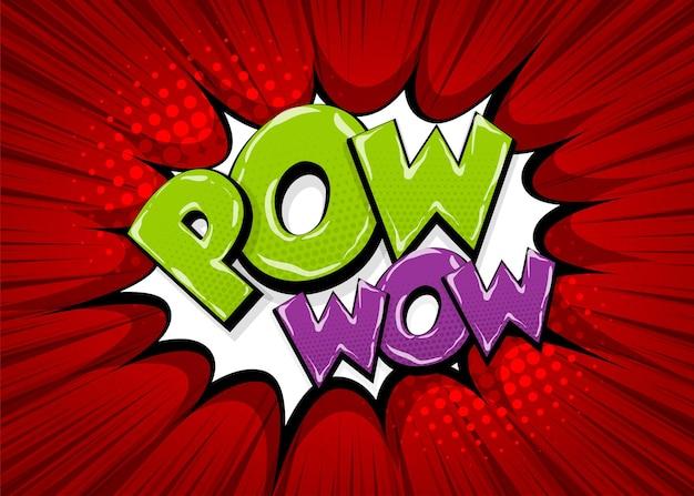 Pow gun wow gekleurde komische tekst collectie geluidseffecten pop-art stijl tekstballon