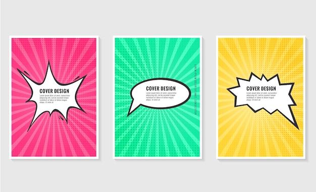 Pow kleurrijke tekstballon en explosies in pop-artstijl