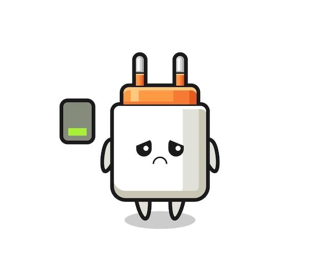 Power adapter mascotte karakter doet een vermoeid gebaar, schattig ontwerp