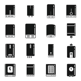 Power bank batterij pictogrammen instellen eenvoudige vector. accumulator bank. externe oplader