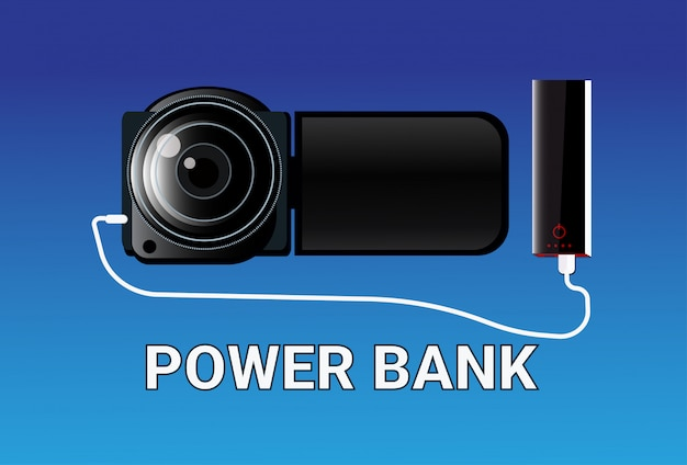 Power bank opladen camera draagbare oplader concept mobiele batterij apparaat