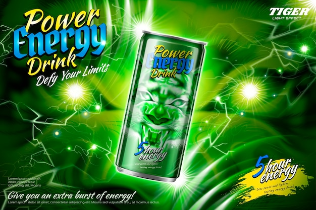 Power energy drink-advertenties met groen bliksemeffect