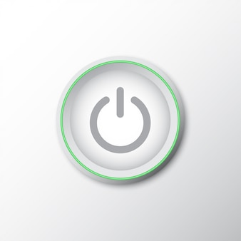 Power-knop met groene lijn en schaduw