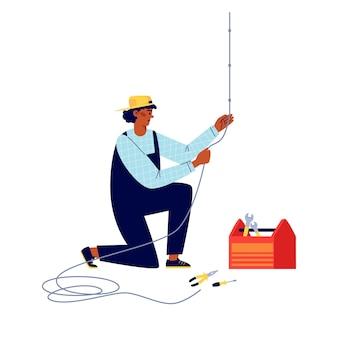 Power lineman of elektrische aansluitende bedrading platte vectorillustratie geïsoleerd