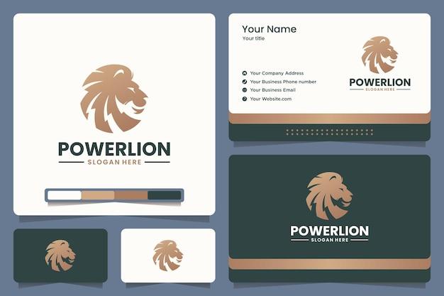 Power lion logo-ontwerp en visitekaartje