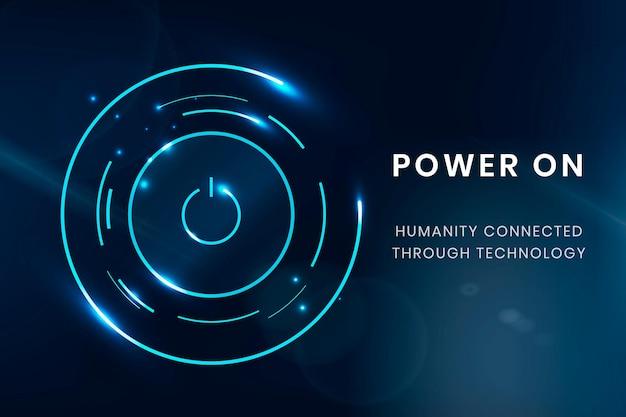 Power on knop sjabloon vector digitale technologie