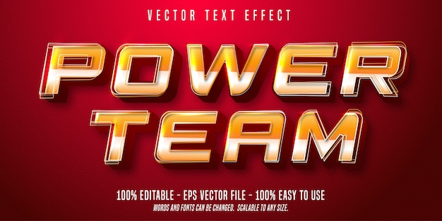 Power team-tekst, bewerkbaar teksteffect in sportstijl