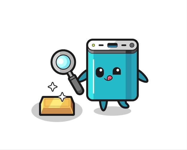Powerbank-karakter controleert de authenticiteit van het goud, schattig stijlontwerp voor t-shirt, sticker, logo-element