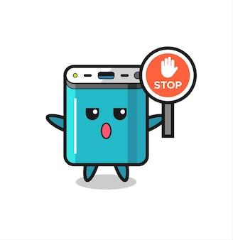 Powerbank-karakterillustratie met een stopbord, schattig stijlontwerp voor t-shirt, sticker, logo-element