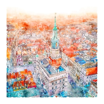 Poznan polen aquarel schets hand getekende illustratie