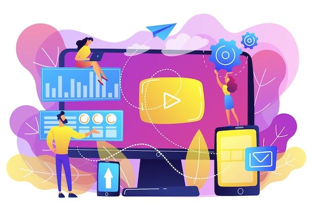 Ppc-reclamemanagers werken met websites. ppc-campagne, pay-per-click-model, internetmarketingtools, advertentieconcept voor zoekmachines. heldere levendige violet geïsoleerde illustratie