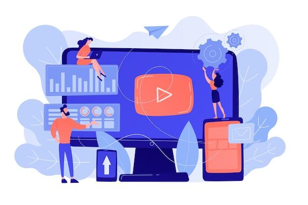 Ppc-reclamemanagers werken met websites. ppc-campagne, pay-per-click-model, internetmarketingtools, advertentieconcept voor zoekmachines. roze koraal bluevector geïsoleerde illustratie