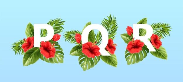 Pqr letters omgeven door tropische zomerbladeren en rode hibiscusbloemen